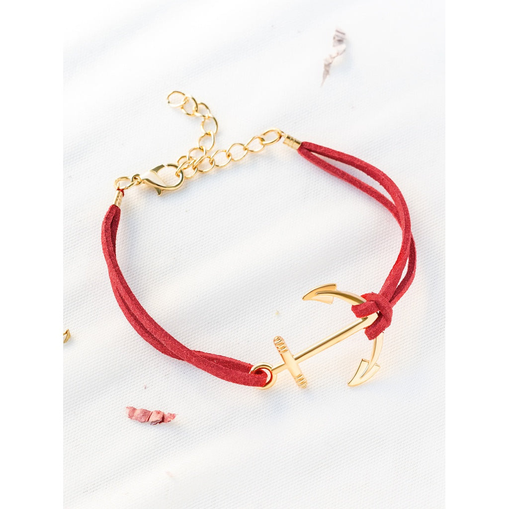 Red Anchor And Chain Detail Bracelet