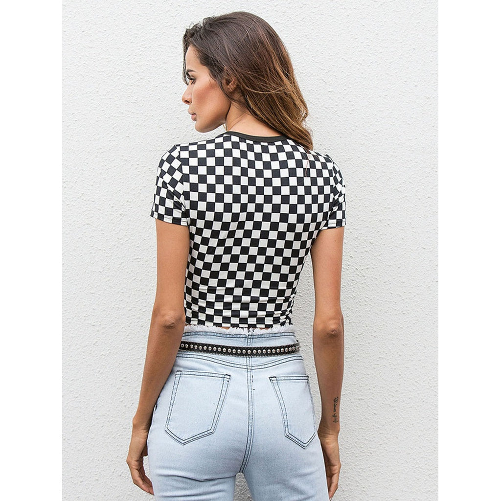 Gingham Crop Tee - Beryl Green