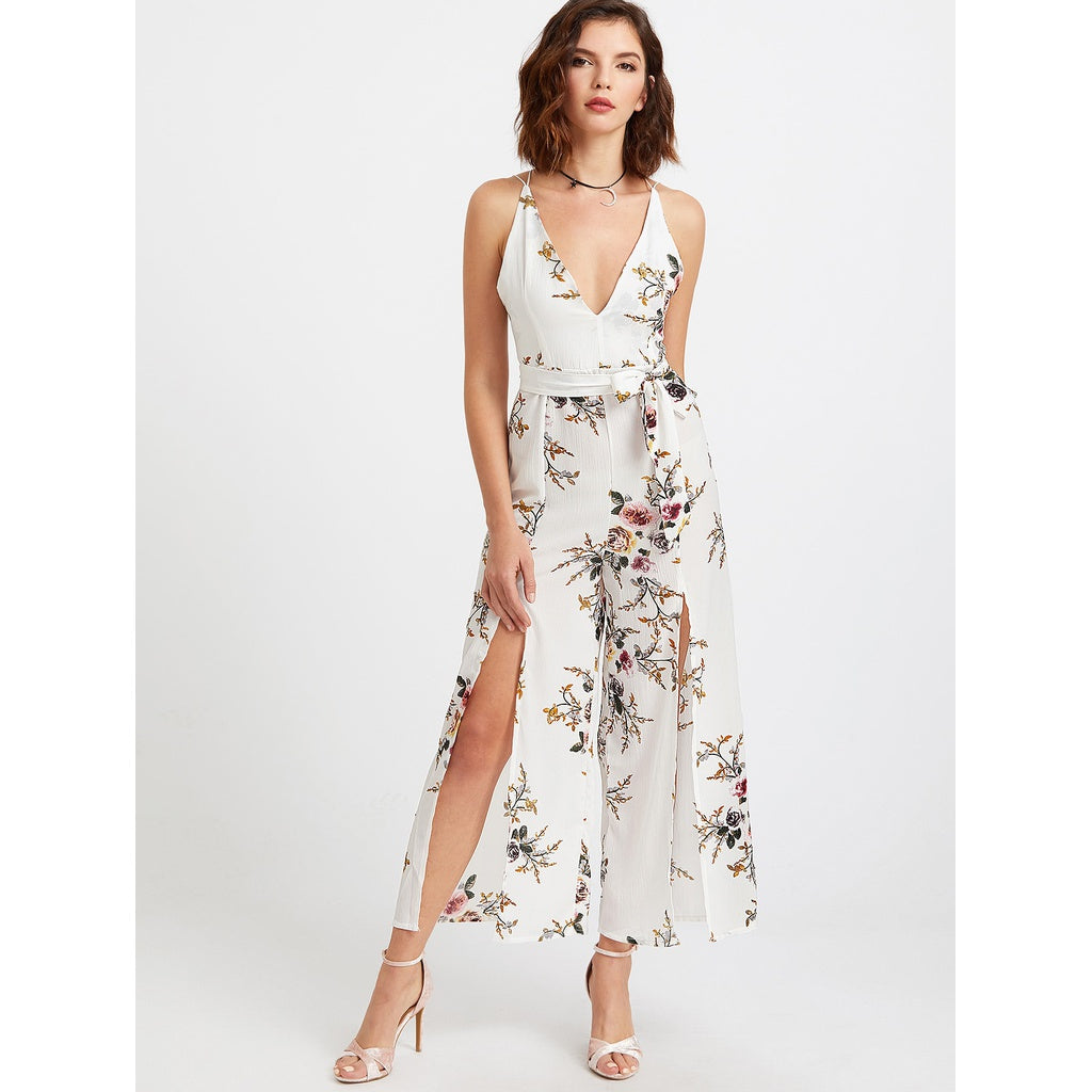 Plunging Self Tie M-slit Strappy Back Florals Jumpsuit - Beryl Green