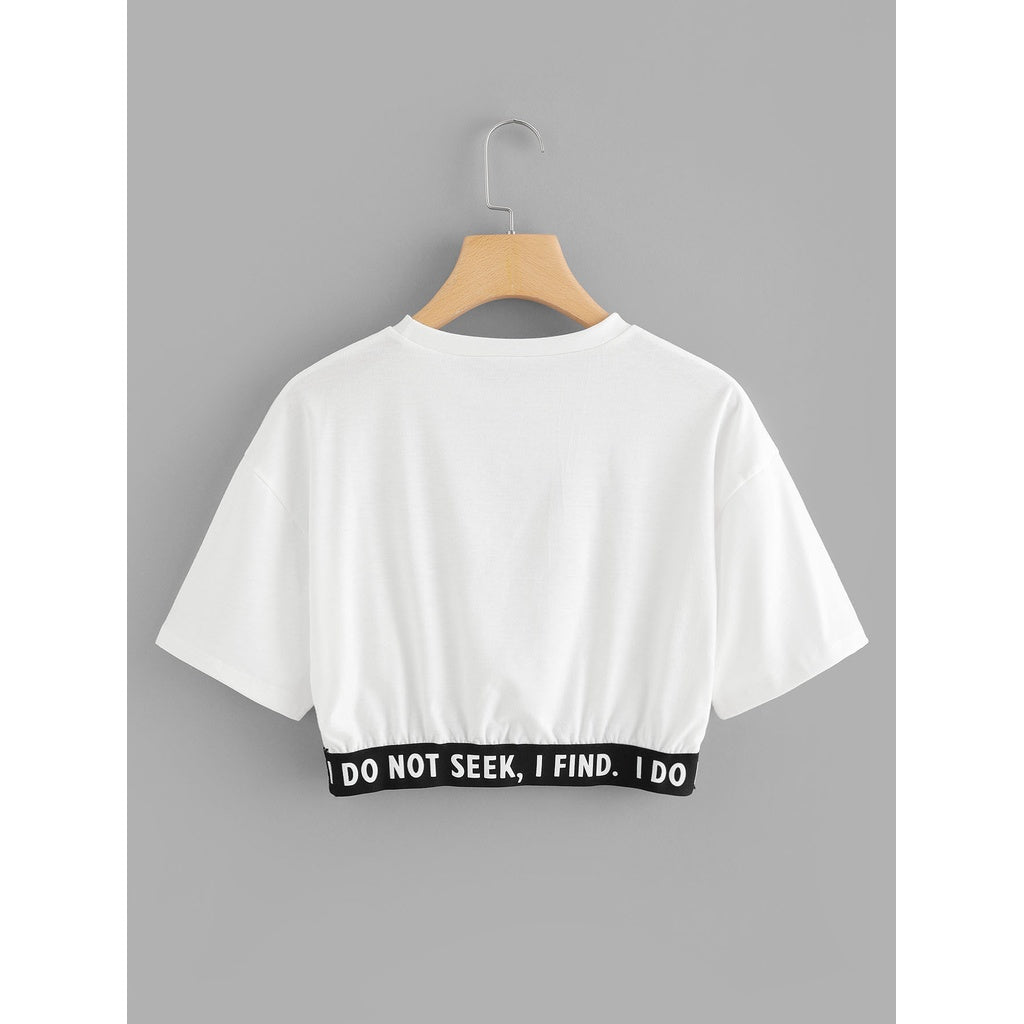 Slogan Print Crop Tee - Beryl Green
