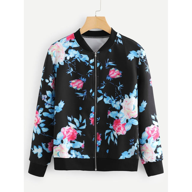 Stand Neck Floral Print Jacket - Beryl Green