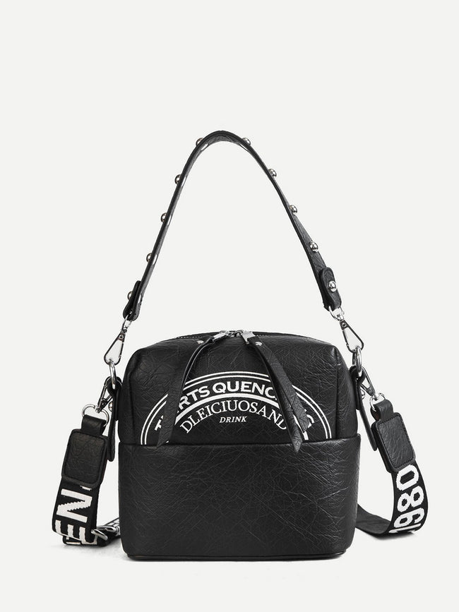 Slogan Print Shoulder Bag