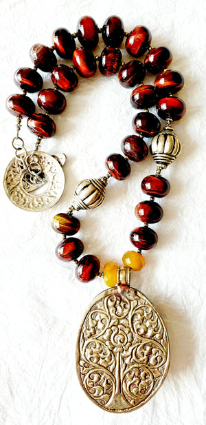 Tiger Eye Bead and Pendant Yellow Agate Stone Repousee Toggle Clasp Statement Necklace