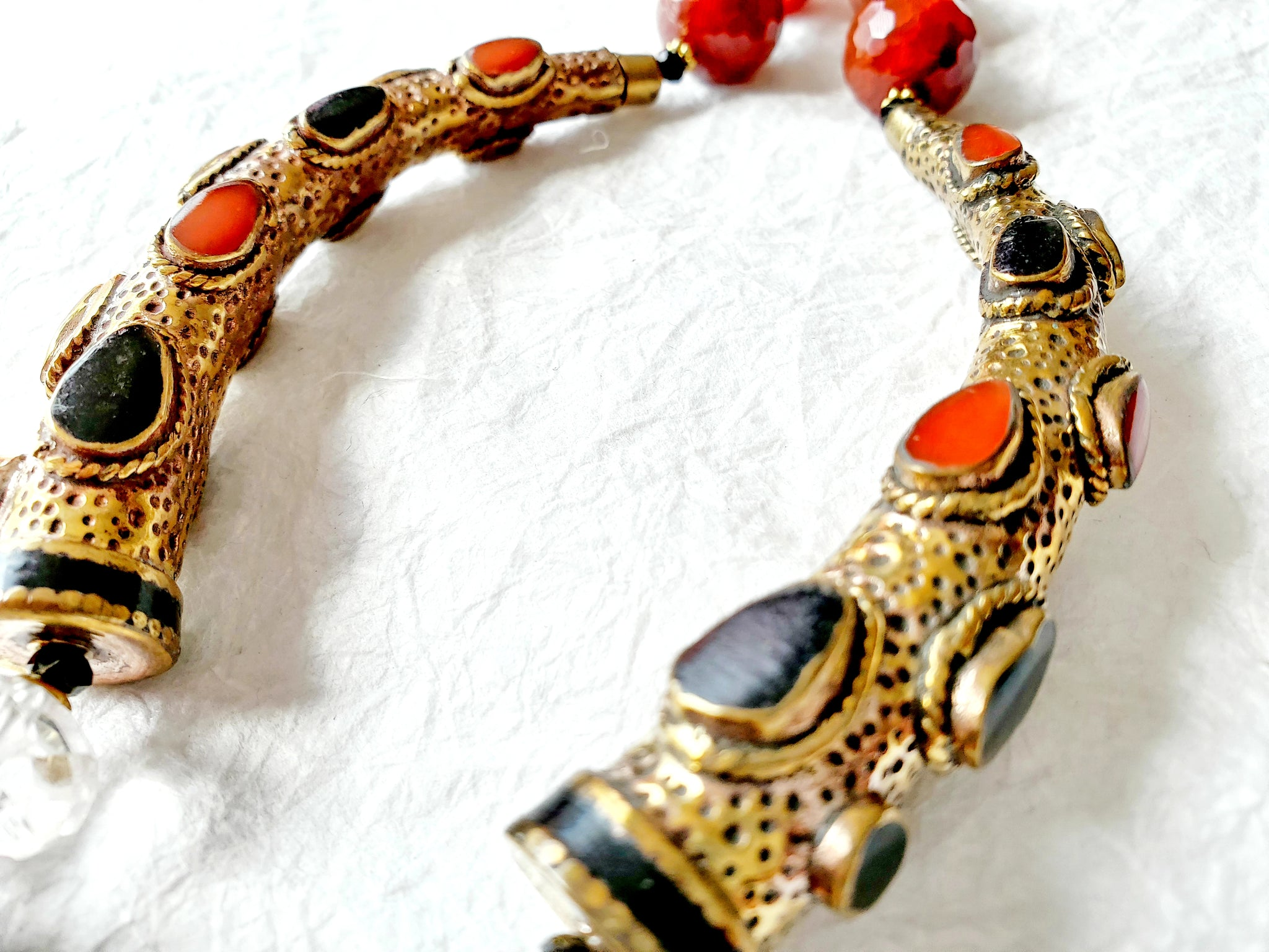Carnelian Smokey Quartz Solid Brass Nepalese Exotic Bold Statement Necklace, NLO1693 The Falcon