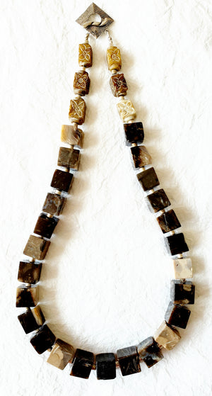 Petoskey Stone Agate Cube Necklace Silver toggle clasp