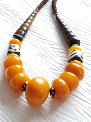 Orange Chunky Copal Amber Beads Carved Spiral Bone Focal