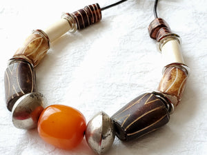 Mens Carved Bone Leather Necklace