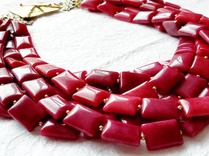 Raspberry Squares 6 Strand Multistrand Pink Berry Fuchsia Statement Necklace