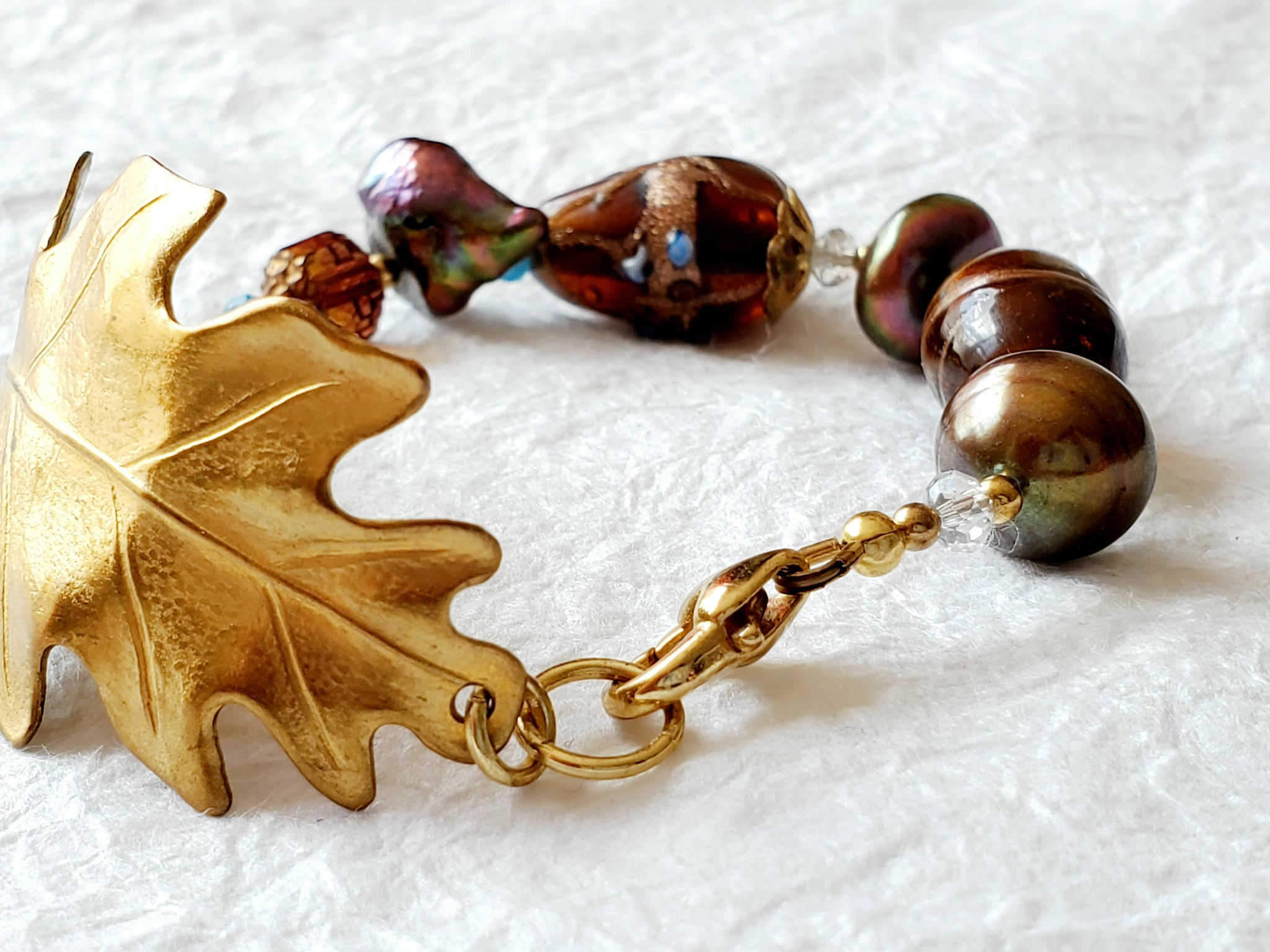 Textured Solid Brass Leaf and Purple Glass Lampwork Beads Statement Bracelet, India Arie