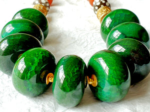 Chunky Emerald Green Agate Orange Rondelle Necklace