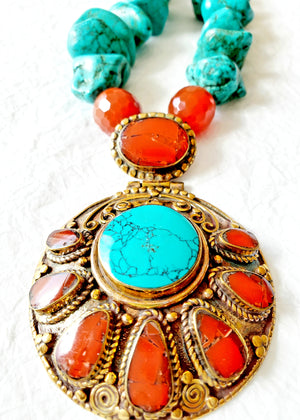Rustic Turquoise Nuggets Carnelian Rondelle Stones Solid Brass Handmade Nepalese Carnelian and Turquoise Repousee Pendant, The Lanya