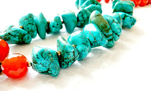 carnelian turquoise Nepalese style chunky statement necklace