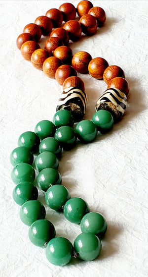 Large Round Bayong Wood Aventurine Batik Chunky Necklace divinitejewellry