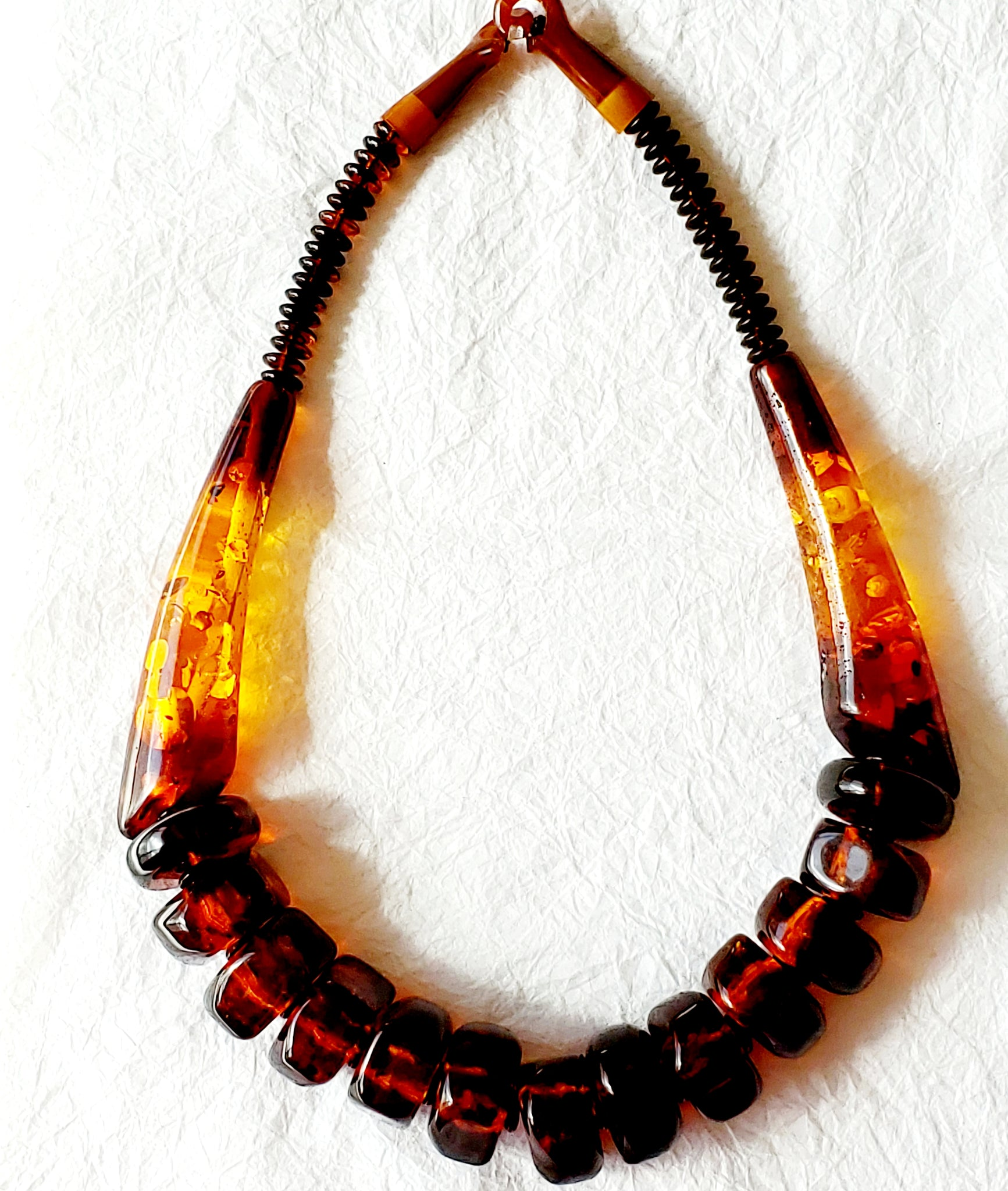 Warm Orange Brown Amber Tortoise Resin Vintage Thick Resin Beads Bone Clasp Collar Statement Necklace, The Brandywine