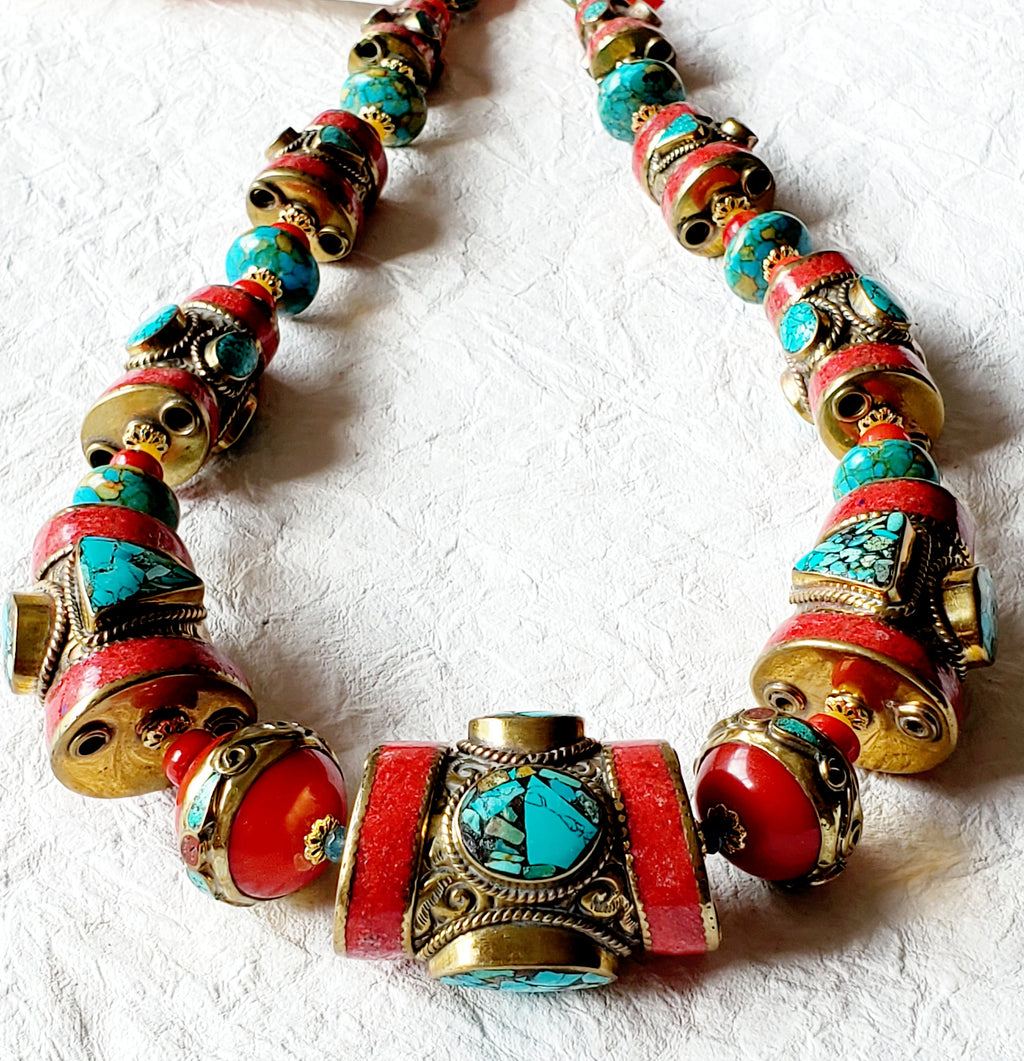 Graduated Solid Brass Coral & Turquoise Inlaid Nepalese Bold Statement Necklace, NRR15302 Tru Deity
