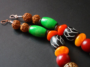 Chunky Rudraksha Carved Bone Amber Brass Mali and Wood Bead Bright Color African Inspired Statement Necklace , The Nyong Necklace