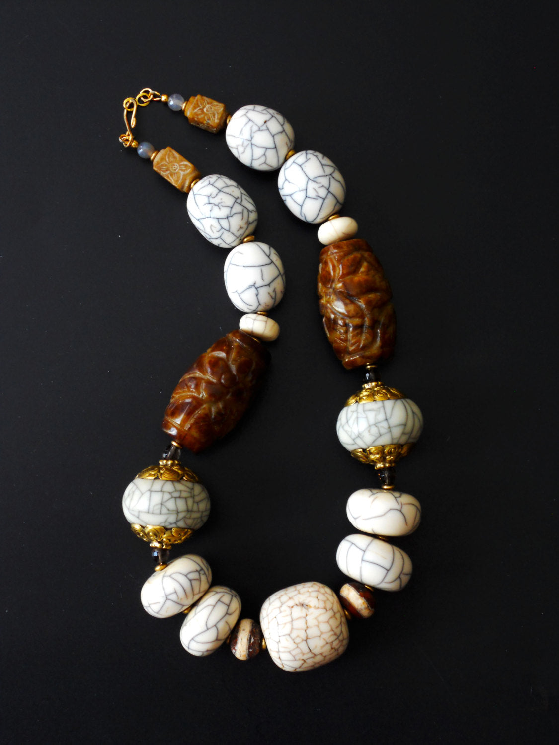 Large White Crackle Repousee Brass Capped Resin and Carved Flower Jade Chunky Bead Ethnic Necklace, NLO16101 Tigris