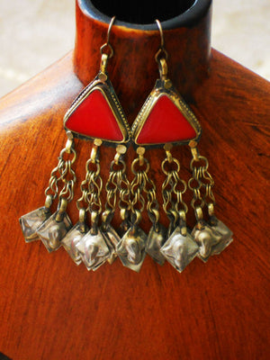 Red Triangle Metal Chain Fringe Kuchi Tribe Red Resin Fringe Statement Earrings, ELO161001: Red Temple