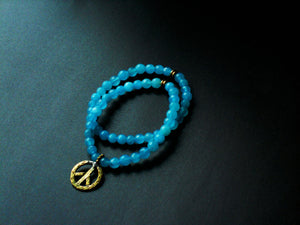 Azure Blue Agate Peace Charm Stretch Stacking Style Bracelet, BLO16914 Peacefulness Bracelet