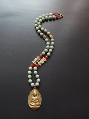 Dyed Mint Jade & Solid Brass Lost Wax Beads Buddha Nepalese Pendant Necklace, NLO1695: Zen Necklace
