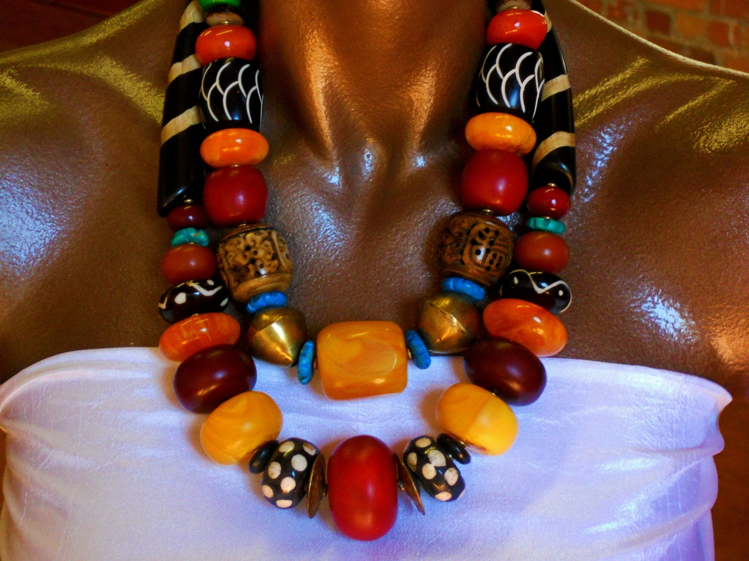 Chunky Carved Bone Amber Batik Bone Wood Beads Red Yellow Brown Orange Colorful African Inspired Statement Necklace, NLO1691: Sanaga