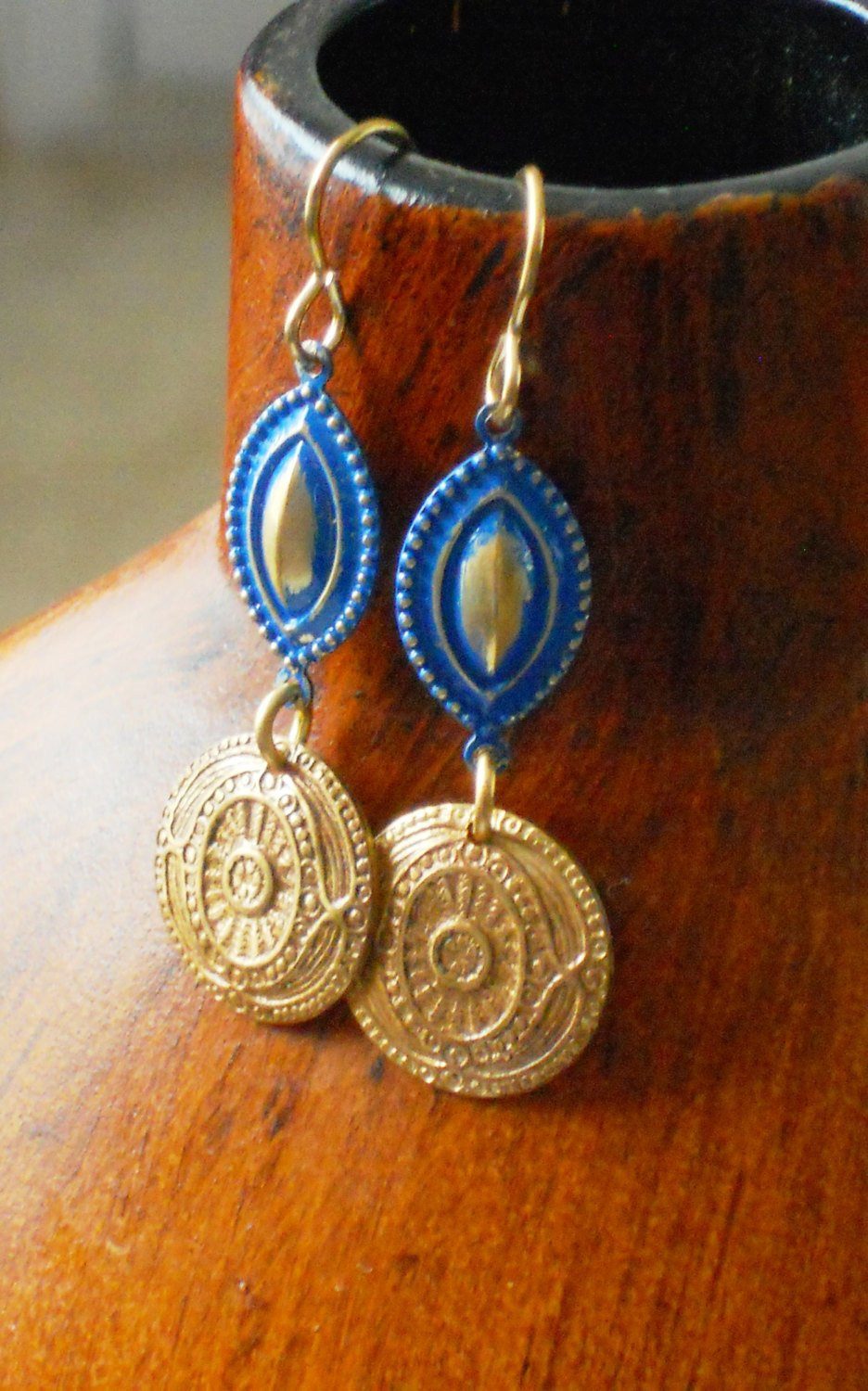 Greek Inspired Royal Blue Patina Coin Brass Dangle Earrings, ELO16923: Lazuli Earrings