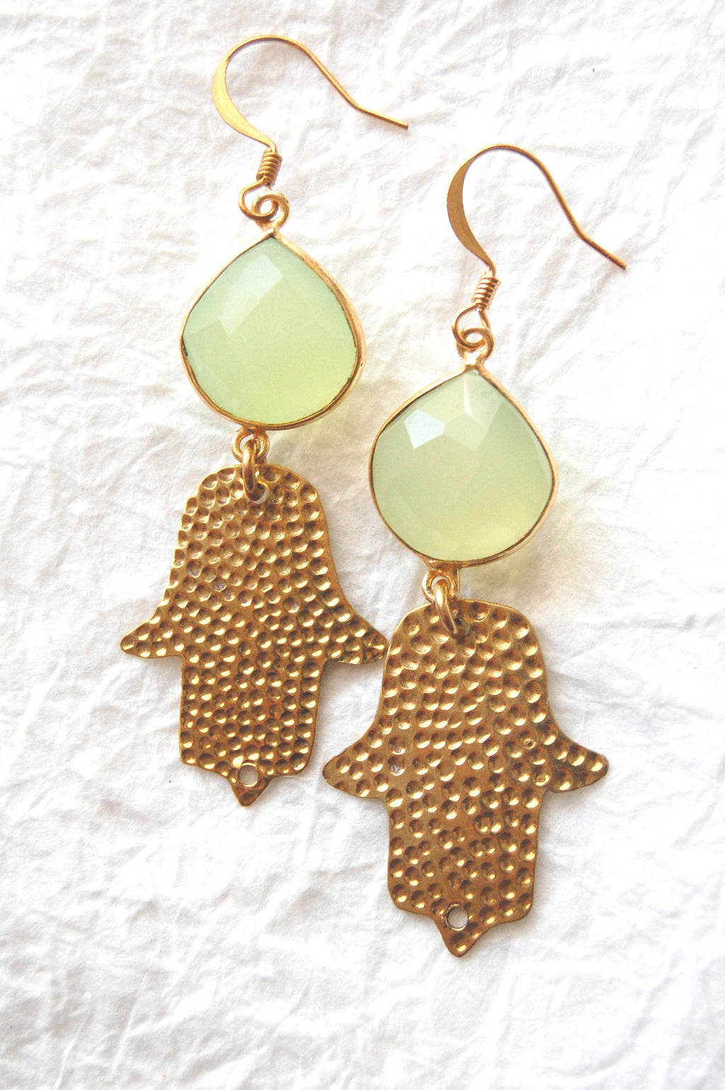 Light Green Chalcedony Gold Bezel and Hammered Brass Hamsa Charm Zen Yoga  Earrings, ZL041715 Lucky Day