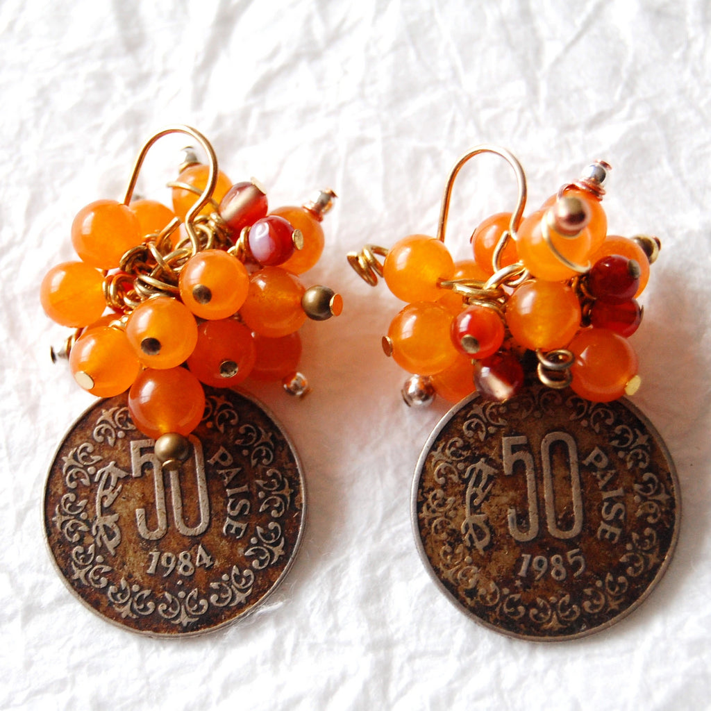 Mandarin Orange Dyed Jade Vintage Paisa Coin Earrings, E041710 Paisa