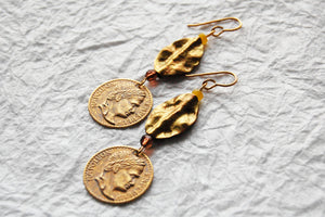 Gold Wavy Hammered Solid Brass Leaf & Greek Coin Earrings, E041713 Mykos Earrings