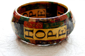 Decoupage Wood Bangle Inspirational Hope Bracelet Divinite Jewellry