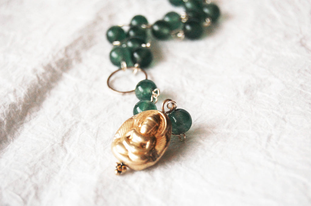 Silver Plated Buddha Charm and Green Agate Hand Wire Wrapped Rosary Y-Necklace, ZL051719 Peacefulness