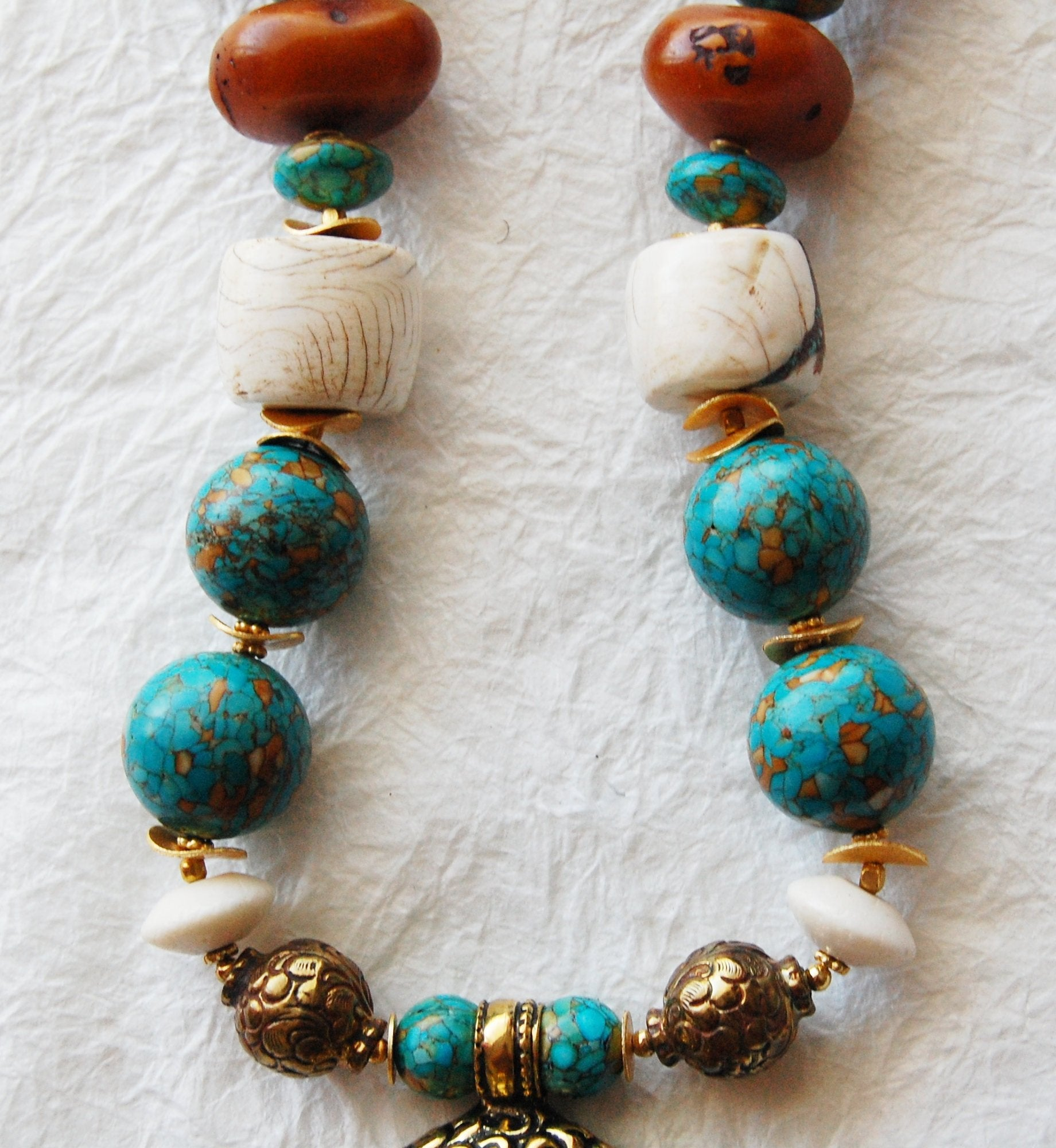 Mosaic Turquoise and Conch Shell Chunky Big Bead Large Buddha Head Zen Inspired Necklace, ZL04174 Big Buddha