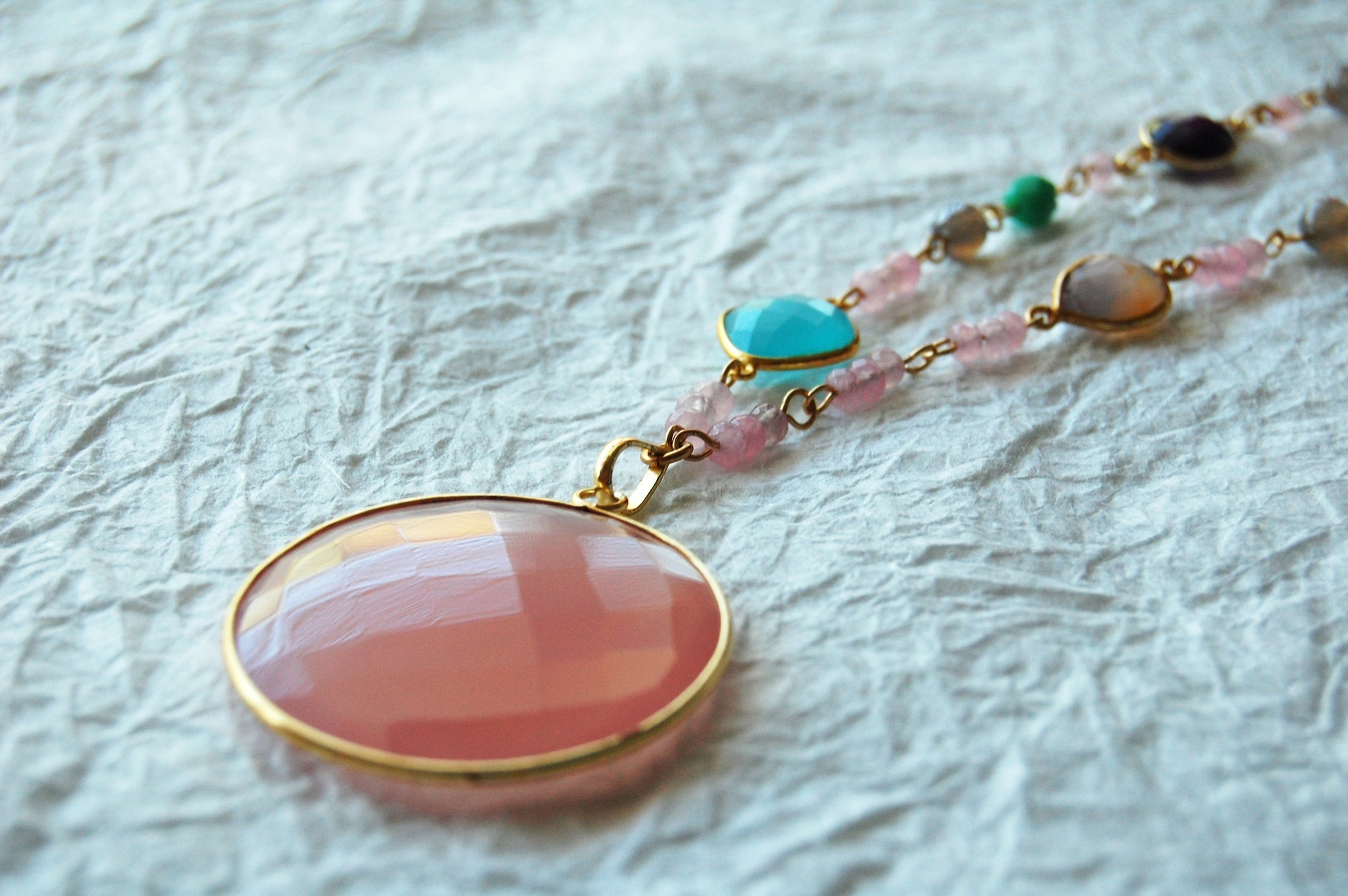 Pink Agate Chalcedony Gold Bezel Pendant Connectors Hand Wire Wrapped Necklace, E04171 Pink with Love Necklace