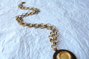 Spinning Coin Native American Inspired Solid Brass Coin Necklace, The Clarion E04173