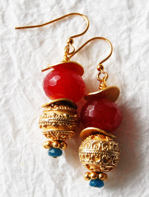 Dyed Jade Fuchsia Rondelle Gold Plated Greek Inspired Drop Earrings Kyra Earrings E041712