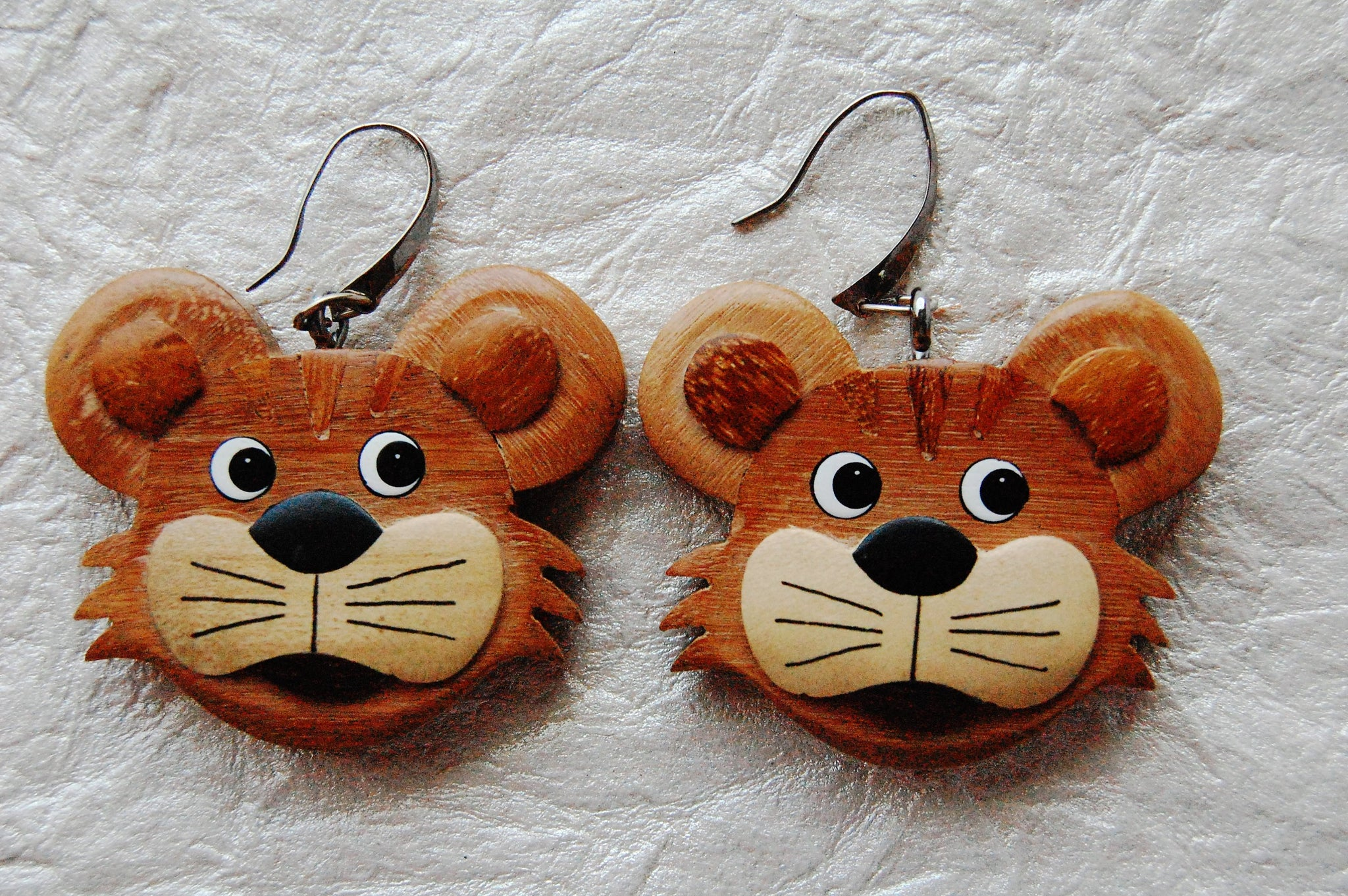 Carved Wood Lion Character Face Fun Earrings Divinite Jewellry