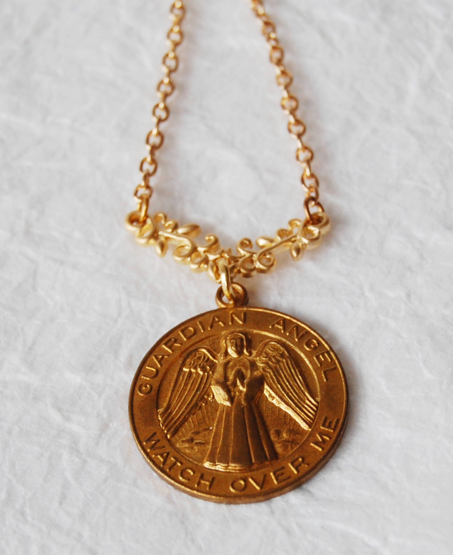Solid Vintage Brass Guardian Angel Necklace, E041717 Guarded & Guided
