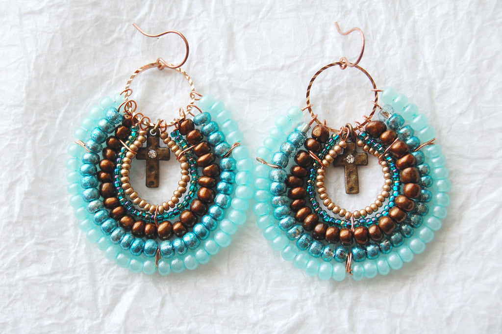 Turquoise Brown and Brass Seed Bead Round Hoop Earrings, E04179 Tropolis