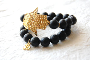 Matte Faceted Onyx Stacking Bracelets with Hammered Brass Hamsa Hand Focal BLO16913