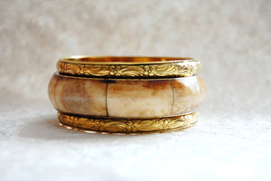 Cream Burgundy Brown Bone & Solid Brass Stacking Bangle Bracelet Boho Style, ZL031711