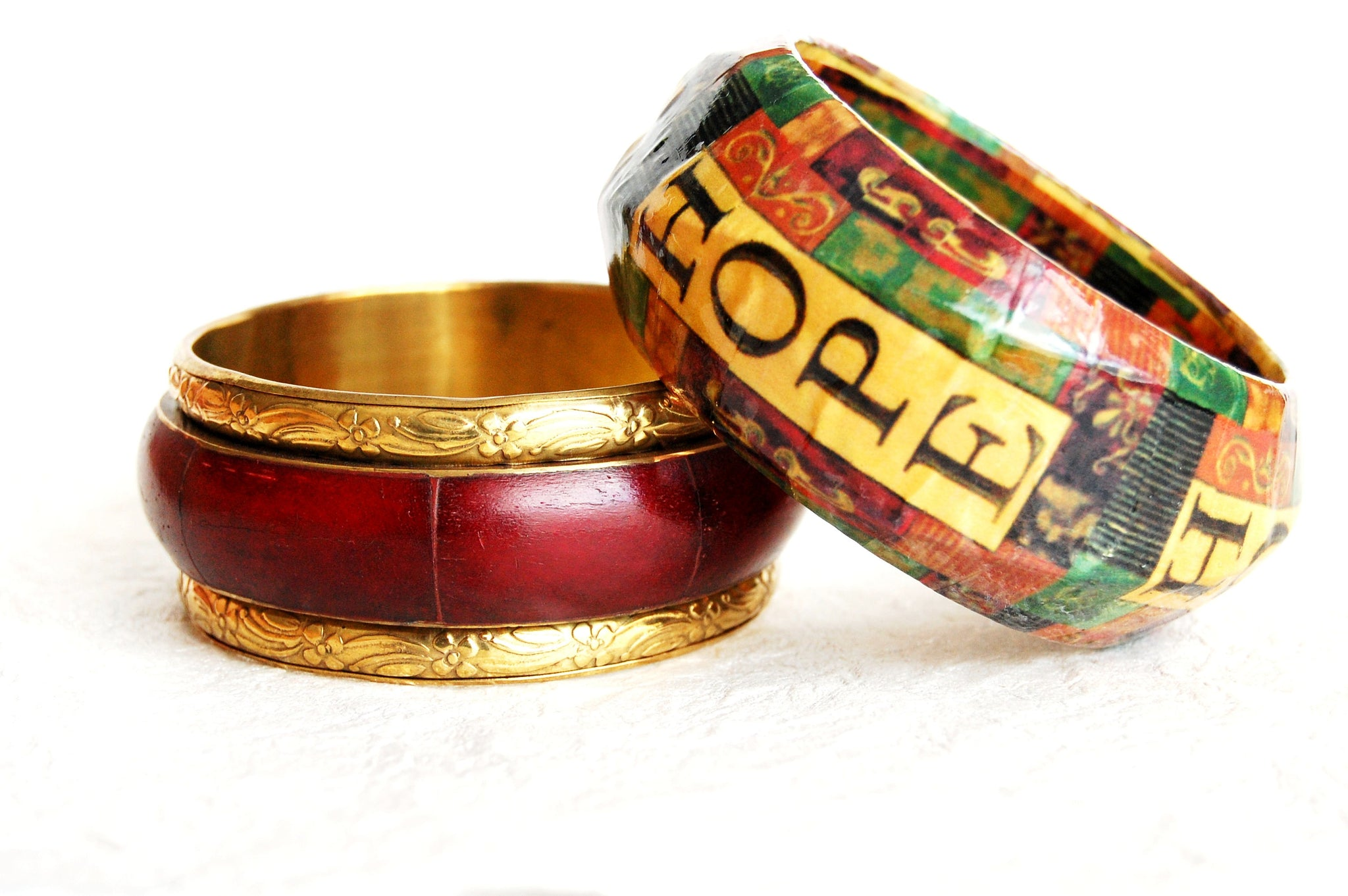 Decoupage Wood Bangle Red Bone Brass Bangle Bracelet Divinite Jewellry