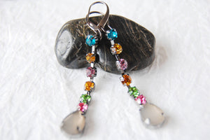 Colorful Rhinestone Glass Leverback TearDrop Earrings, MB101720: Holiday Lights