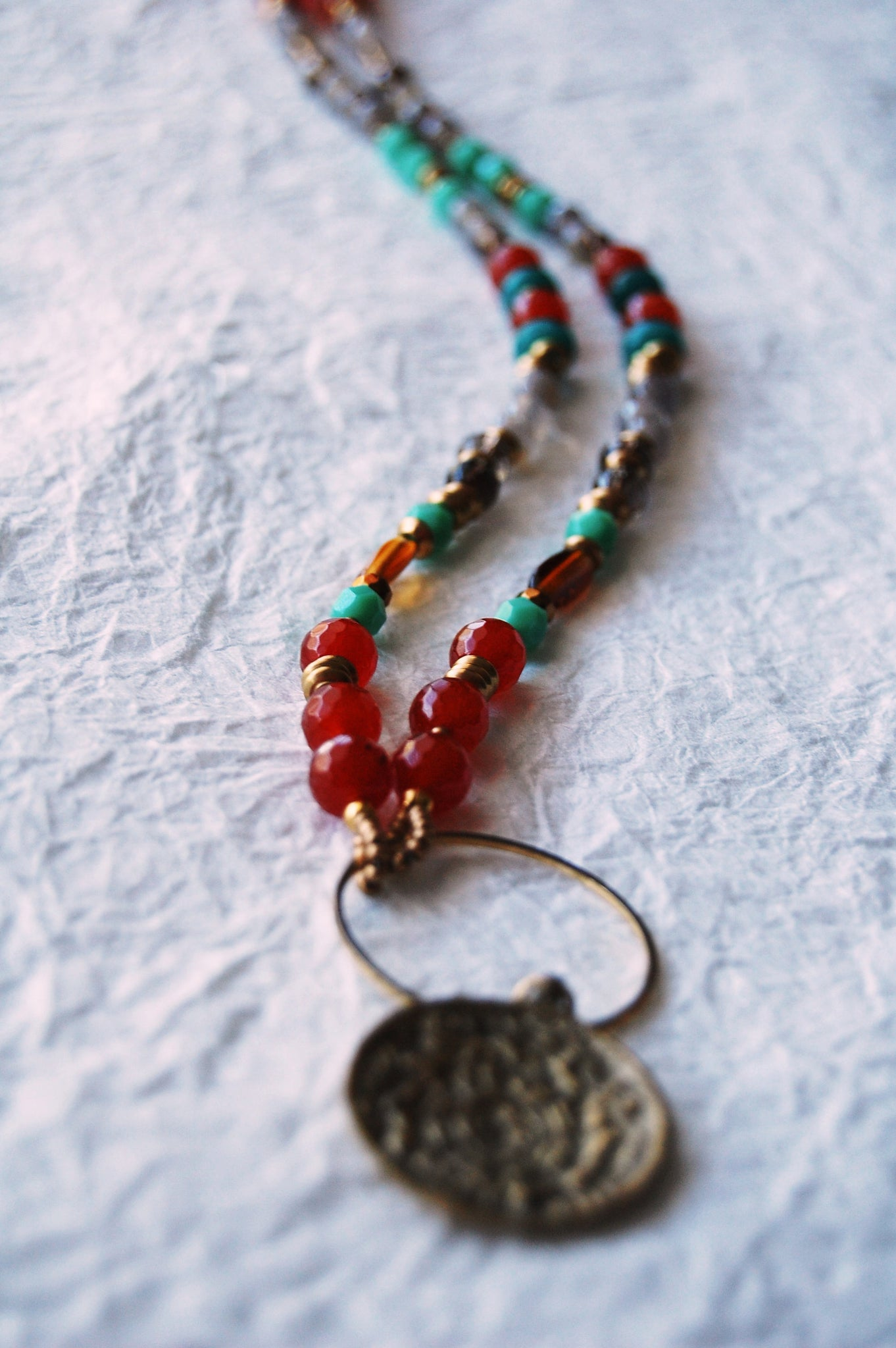 Natural Stones Carnelian Turquoise Smokey Quartz Czech Agate Beads Red Orange Gray Gold Tibetan Calendar Pendant Necklace