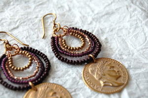 Maroon Seed Bead Coin Green Inspired Drop Dangle Earrings Divinite Jewellry