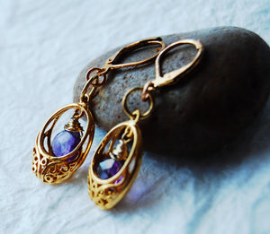 Gold Filled Basket and Purple Amethyst Briolette Gold Leverback Earrings, E041719 Basket of Violets