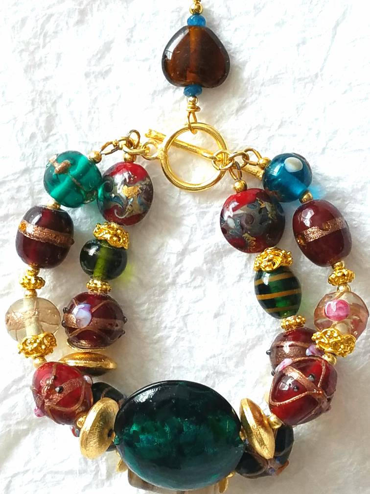 "Large Glass Lampwork Lentil Beads Red Green Brown Gold Double Strand Chunky Christmas Bracelet, MB10173: ""Deck The Halls"""