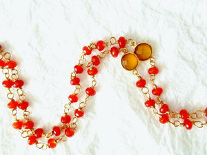Red Orange Carnelian Yellow Chalcedony Green Dyed Jade Bezel Pendant Hand Wire Wrapped Beaded Necklace Divinite Jewellry