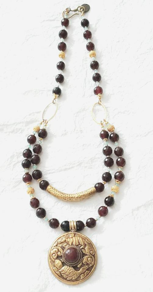 Deep Red Garnet Double Strand Solid Brass Repousee Nepalese Pendant Necklace, MB101710: Sparkling Wines