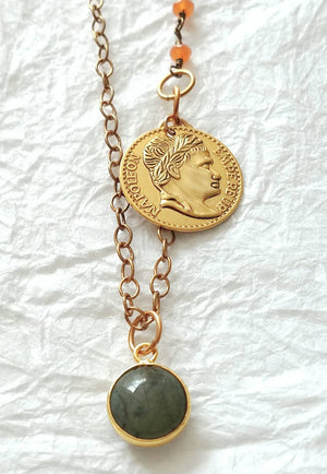 Labradorite and Chalcedony Coin Charm Dainty Necklace, QW091719: So Beautiful Necklace