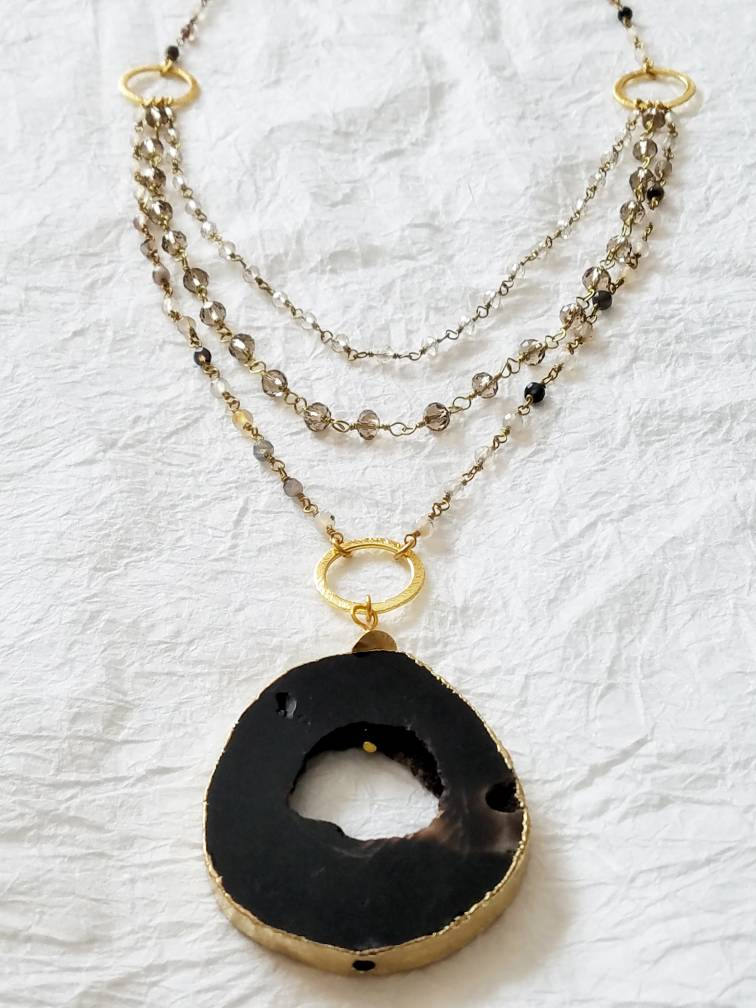 Natural Black Druzy & 14kt Gold Foil Hand Wire Wrapped Chain Agate Multi-Strand Long Necklace, QW101717: Modern Elegance Necklace